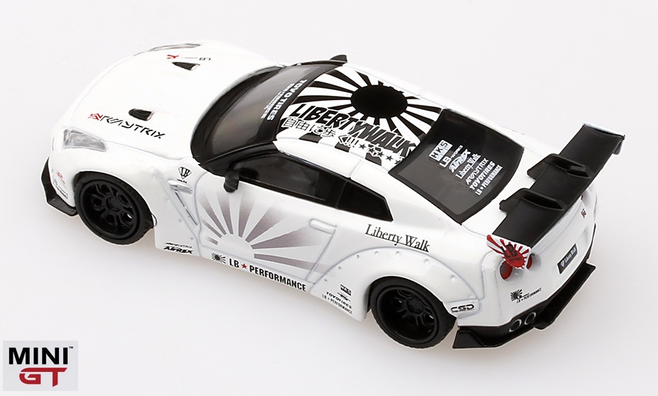 1/64スケール MINI GT LB★WORKS Nissan GT-R R35 Type 1,リアウイングVer.1+2 (ホワイト/LHD)