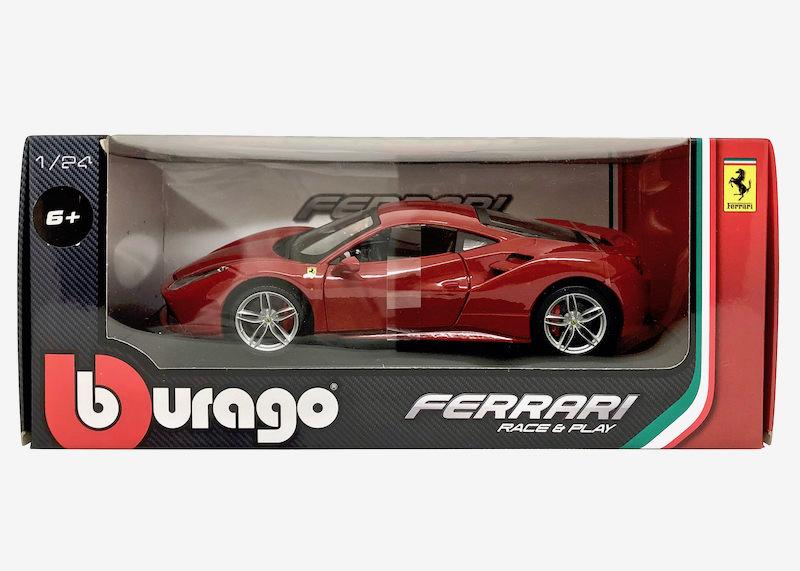 ブラーゴ 1/24スケール「フェラーリ488GTB」(レッド)Race & Playシリーズ