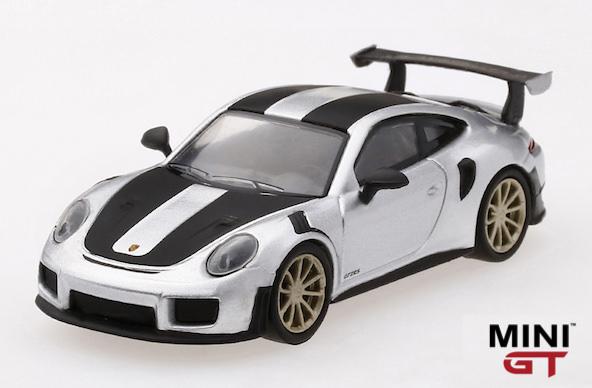 1/64スケール MINI GT「ポルシェ911 GT2 RS Weissach package」(シルバーメタリック)LHD