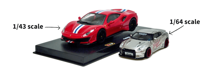 1/64スケールミニカーと1/43スケールミニカーの比較画像