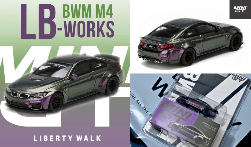 1/64スケール MINI GT「LB★WORKS BMW M4」(パープルグリーンメタリック)ミニカー