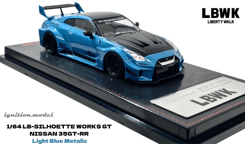 イグニッションモデル 1/64スケール「LBWK Silhouette WORKS GT 35GT-RR」(ライトブルーメタリック)ミニカー